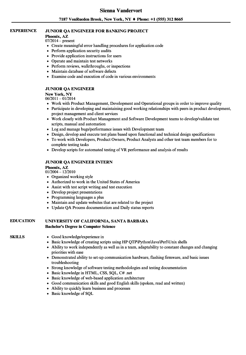 Junior QA Engineer Resume Samples | Velvet Jobs