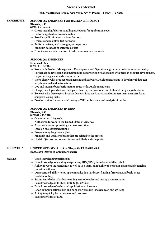 Resume For Qa Job