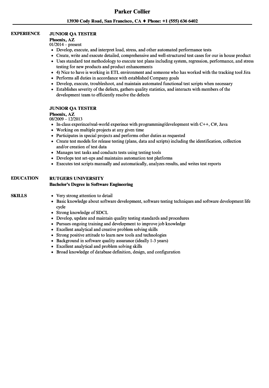 Junior Qa Tester Resume Samples Velvet Jobs