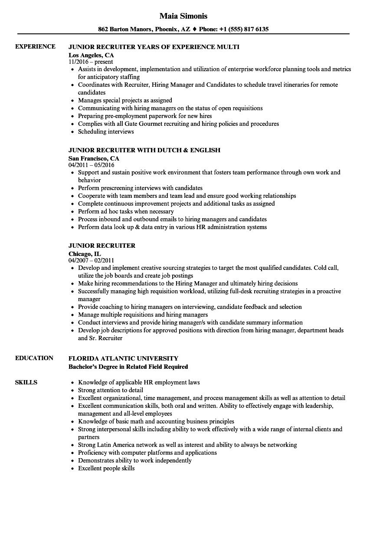 Junior Recruiter Resume Samples | Velvet Jobs