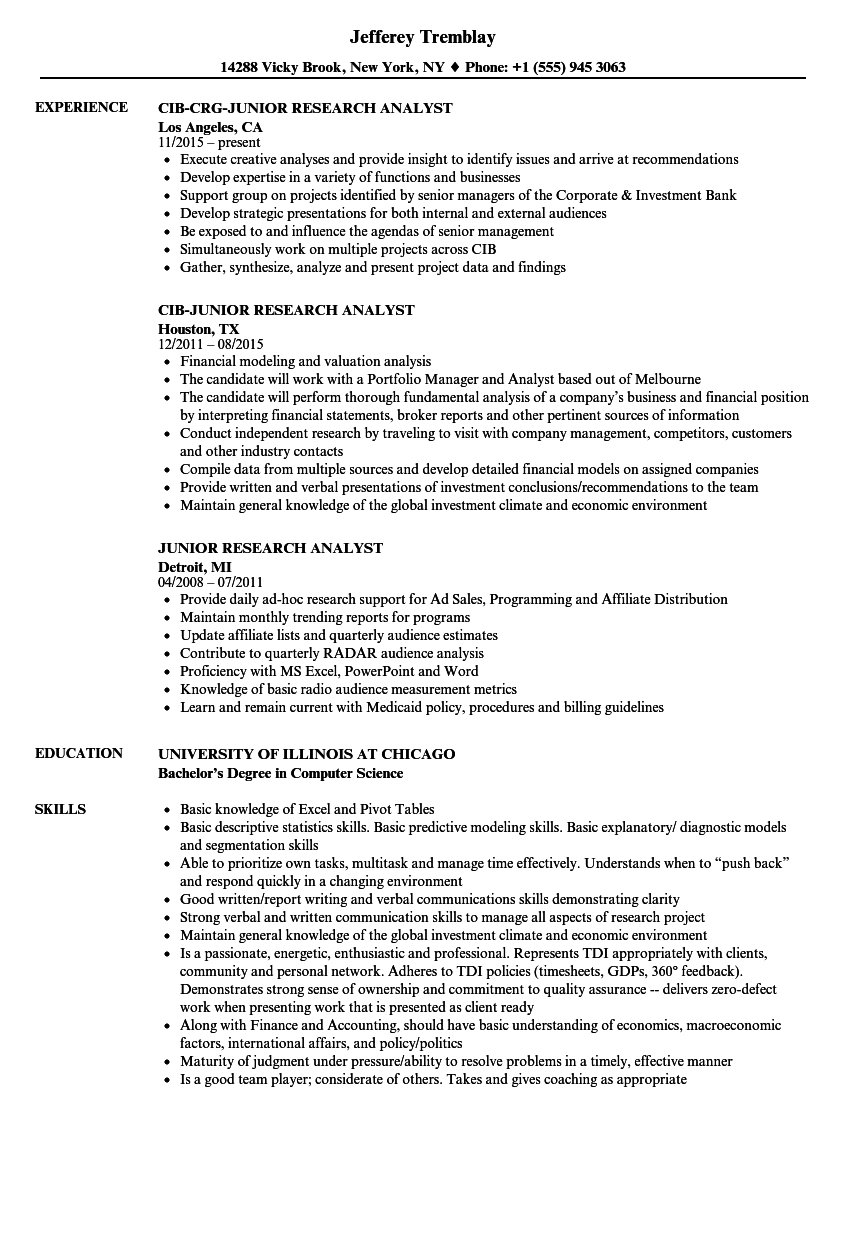 junior research analyst resume samples