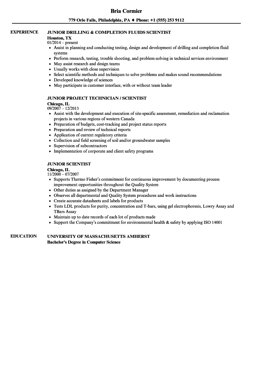 Junior Scientist Resume Samples | Velvet Jobs