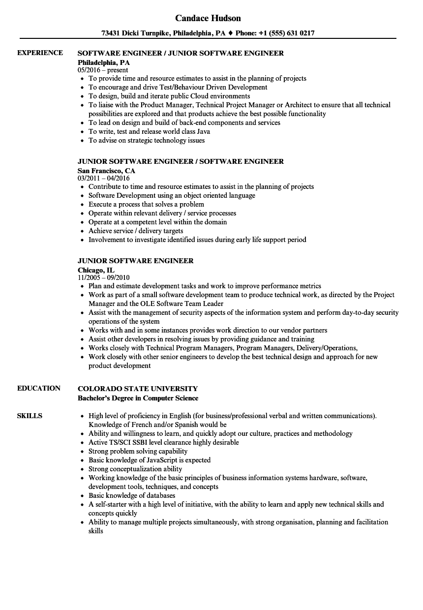 Junior Software Engineer Resume Samples Velvet Jobs