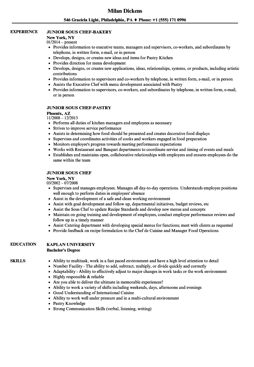 Junior Sous Chef Resume Samples | Velvet Jobs