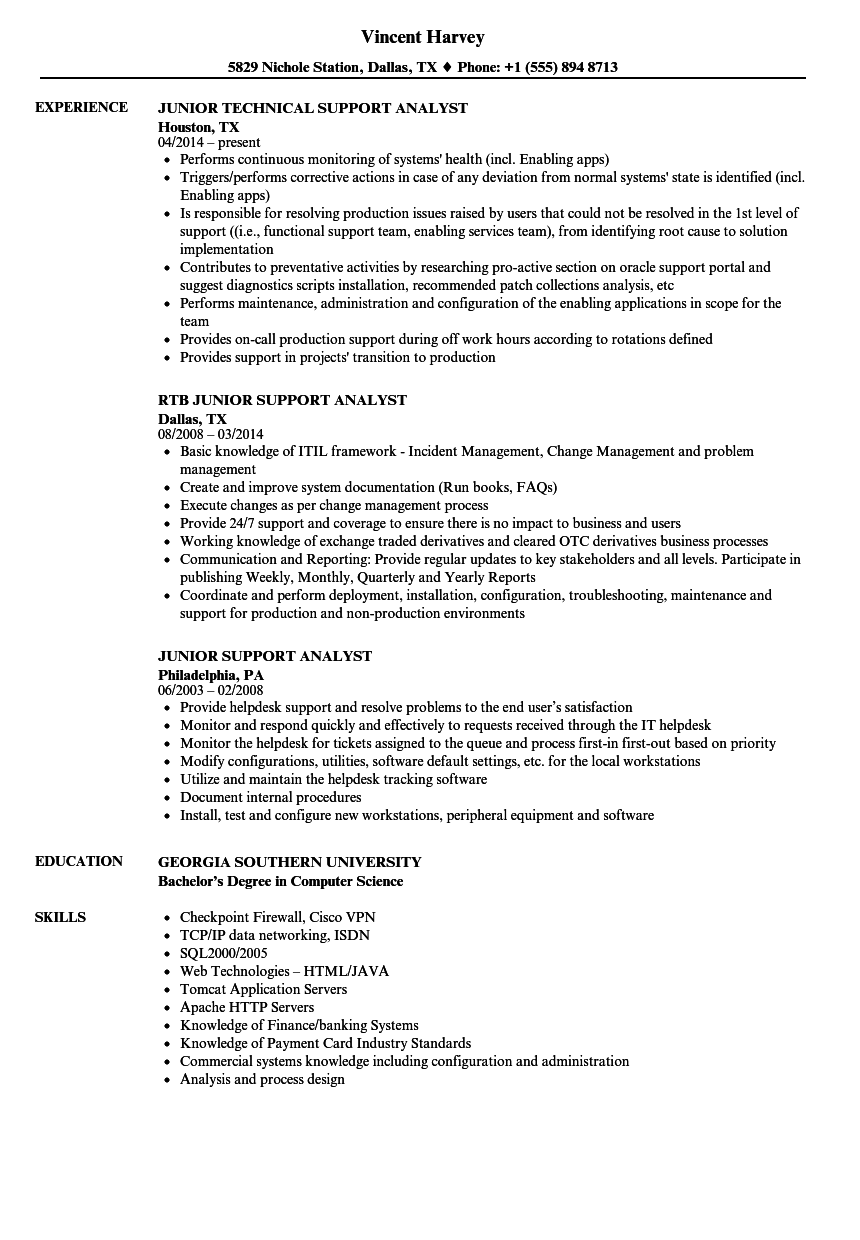 Junior Support Analyst Resume Samples | Velvet Jobs