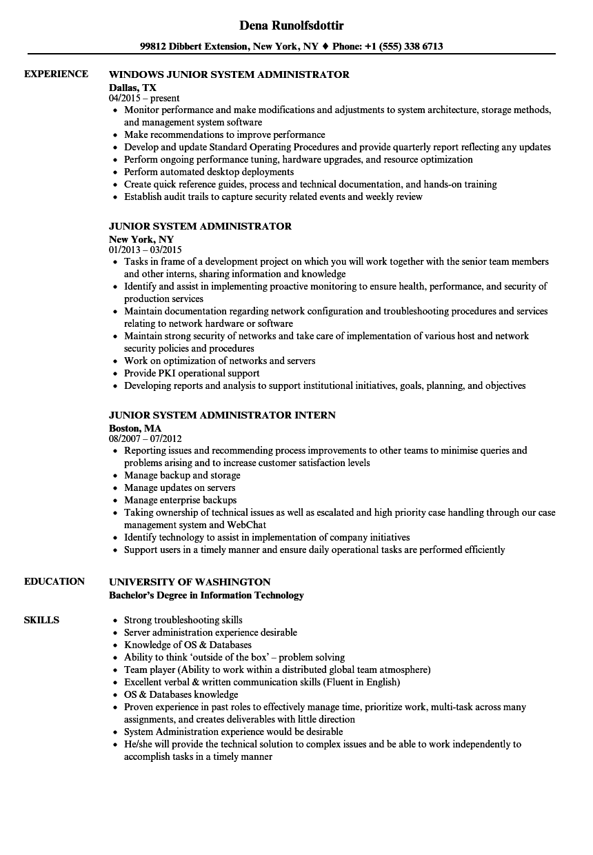 Junior System Administrator Resume Samples | Velvet Jobs