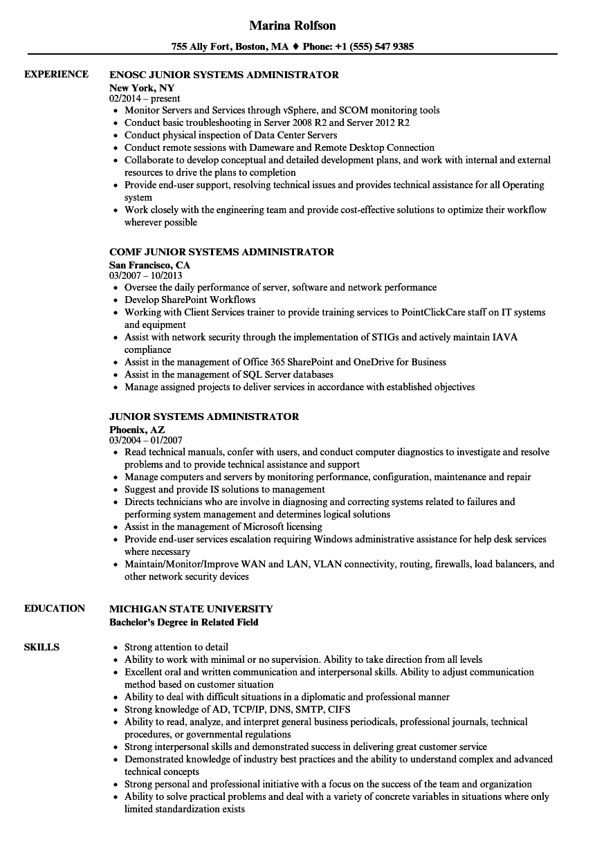 Junior Systems Administrator Resume Samples Velvet Jobs