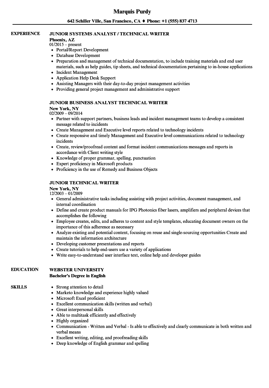 Junior Technical Writer Resume Samples | Velvet Jobs