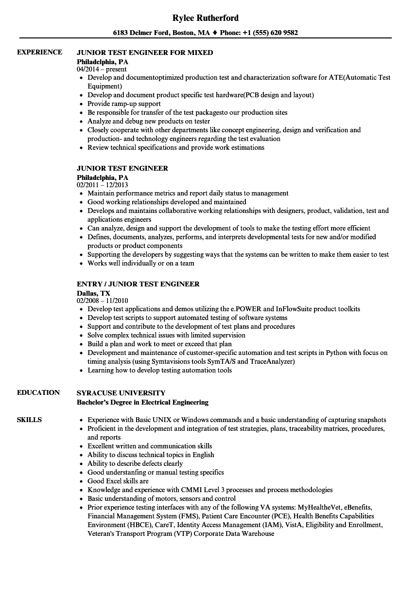 junior test engineer resume samples