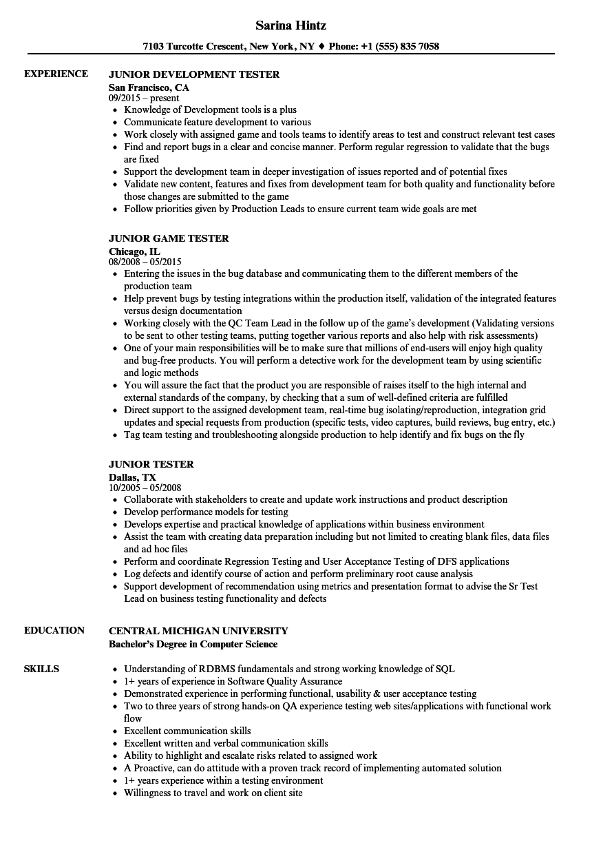 Junior Tester Resume Samples | Velvet Jobs