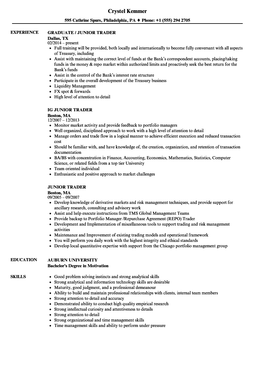 junior trader resume samples
