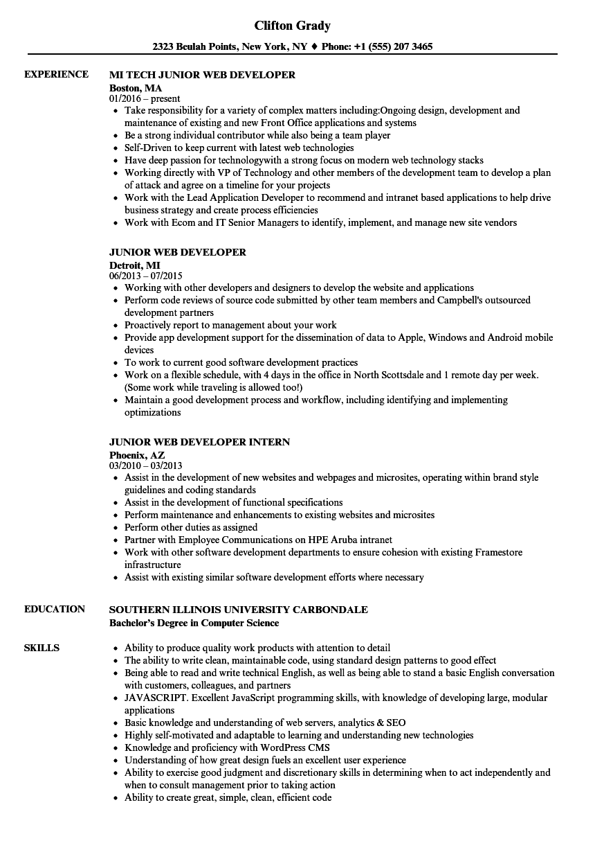 Web Developer Resume | Junior Web Developer Resume Samples Velvet Jobs