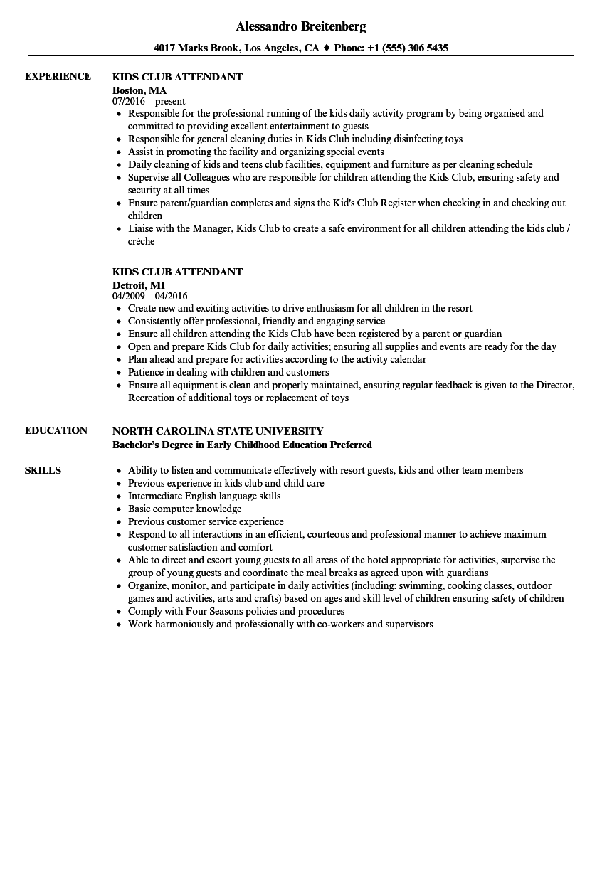 Kids Club Attendant Resume Samples | Velvet Jobs