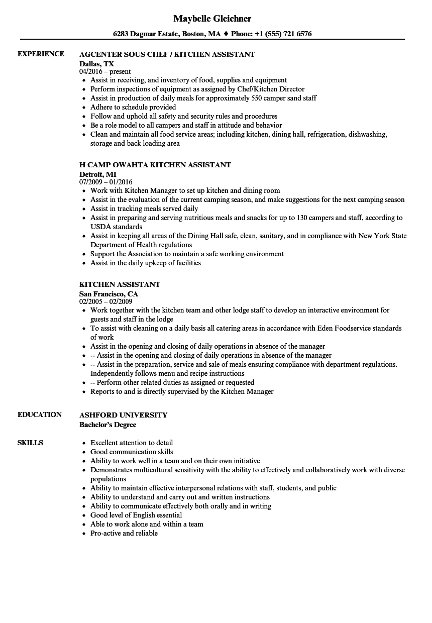 Kitchen Assistant Resume Samples Velvet Jobs