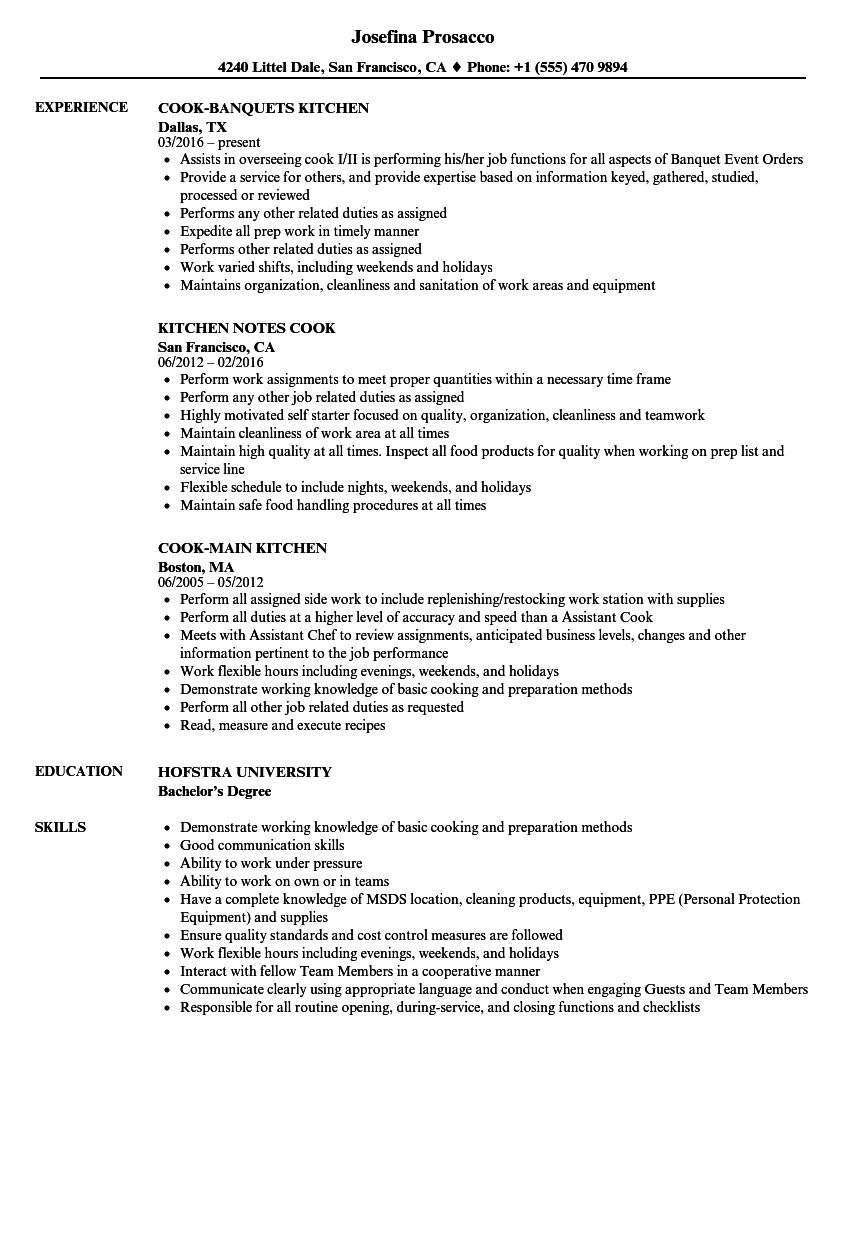 kitchen cook resume samples