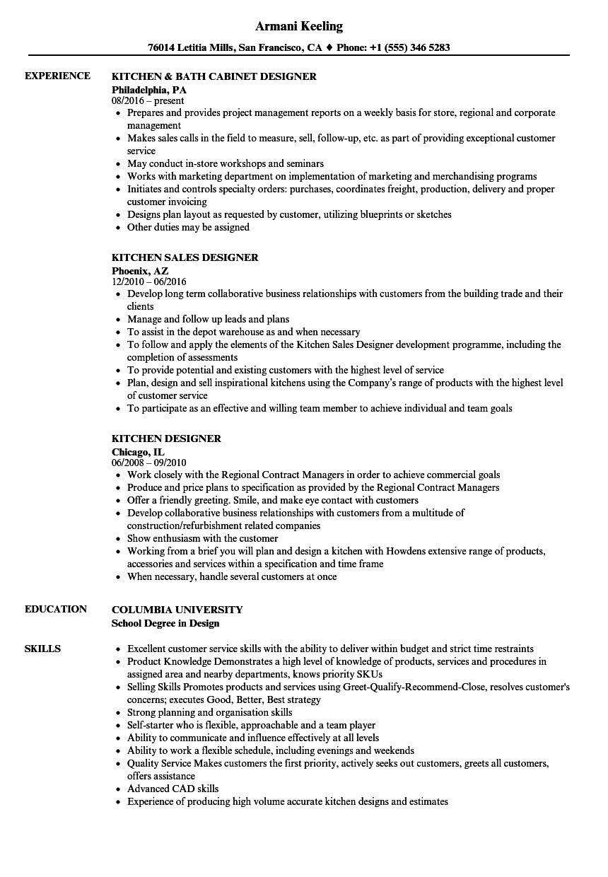 Kitchen Designer Resume Samples | Velvet Jobs