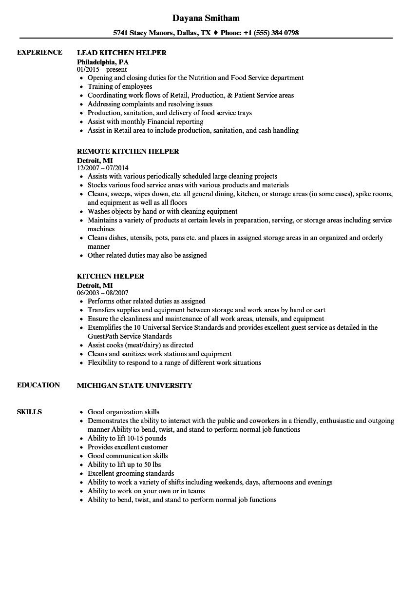 cook helper resume - arctic catering