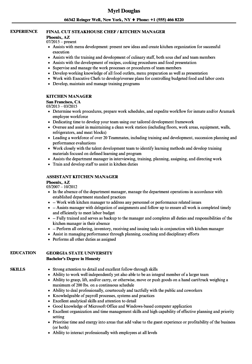 Kitchen Manager Resume Samples | Velvet Jobs