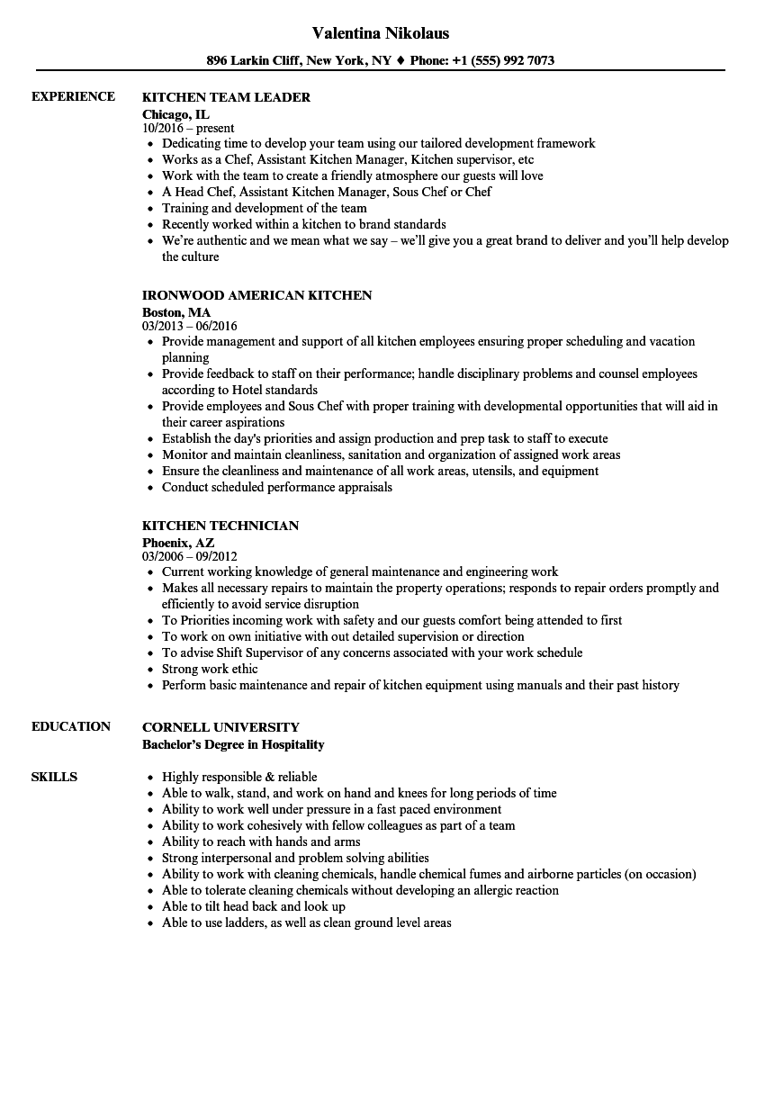kitchen resume samples