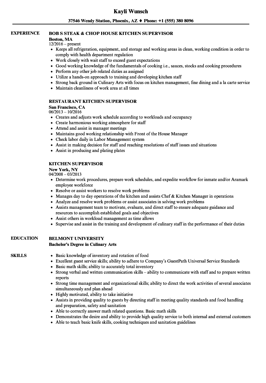 Kitchen Supervisor Resume Samples | Velvet Jobs