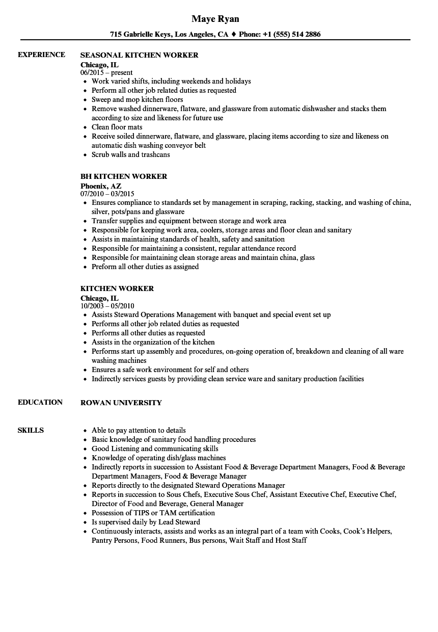Kitchen Worker Resume Samples Velvet Jobs