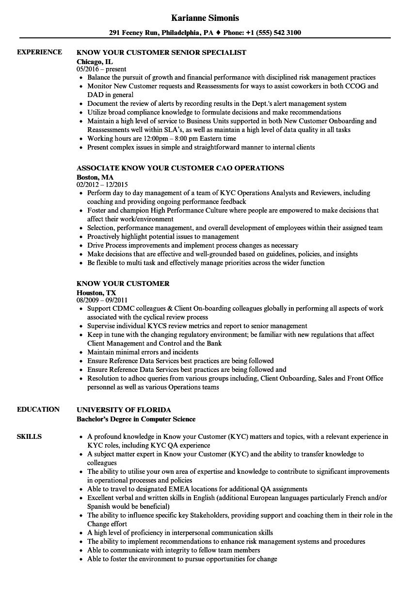 know your customer resume samples
