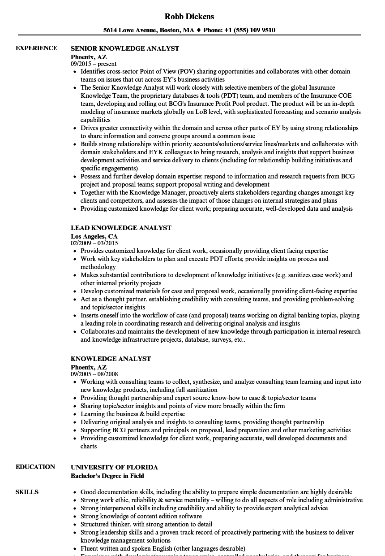 Knowledge Analyst Resume Samples | Velvet Jobs