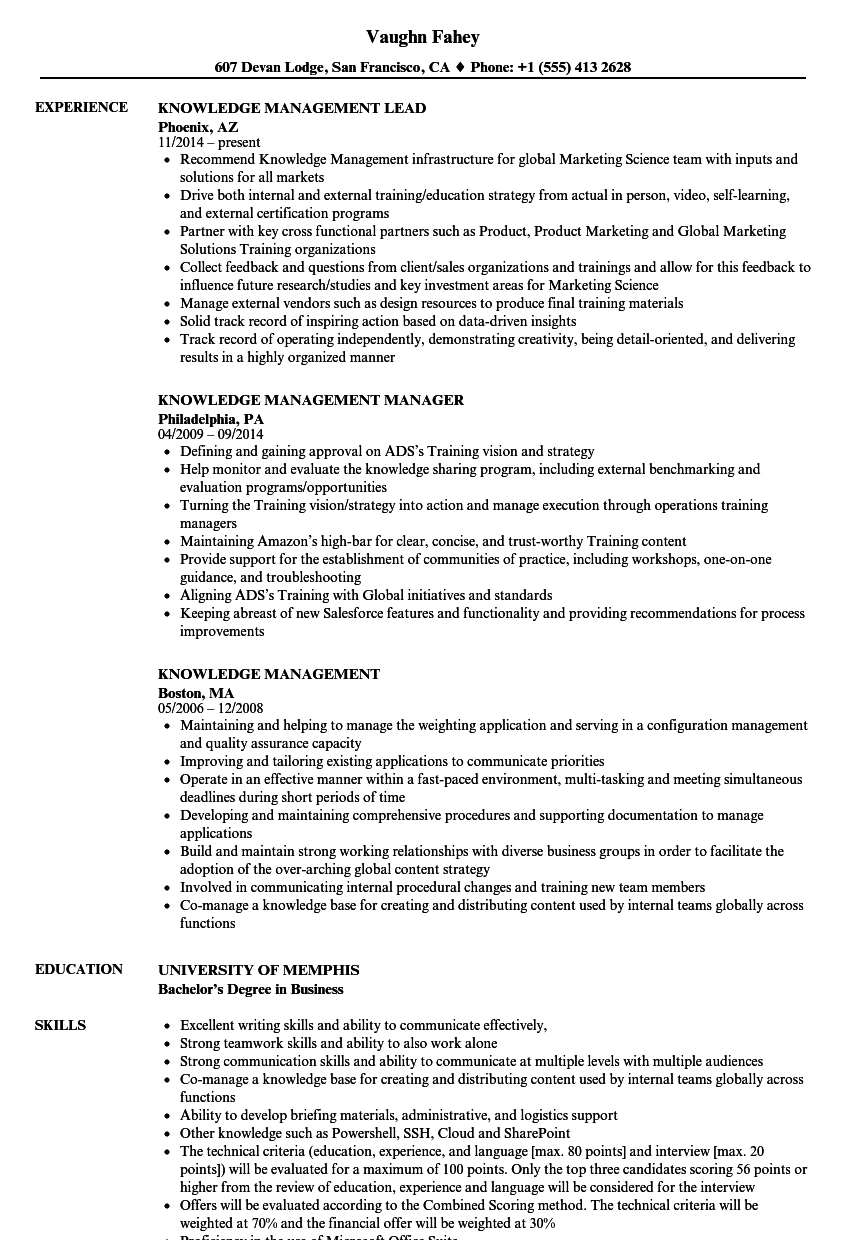 knowledge management resume samples