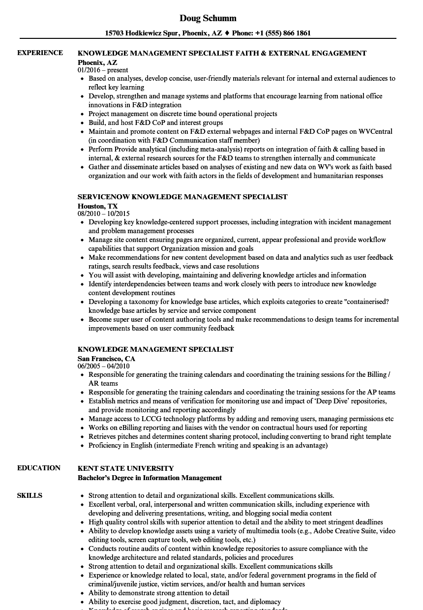 Download Knowledge Management Specialist Resume Sample As Image File