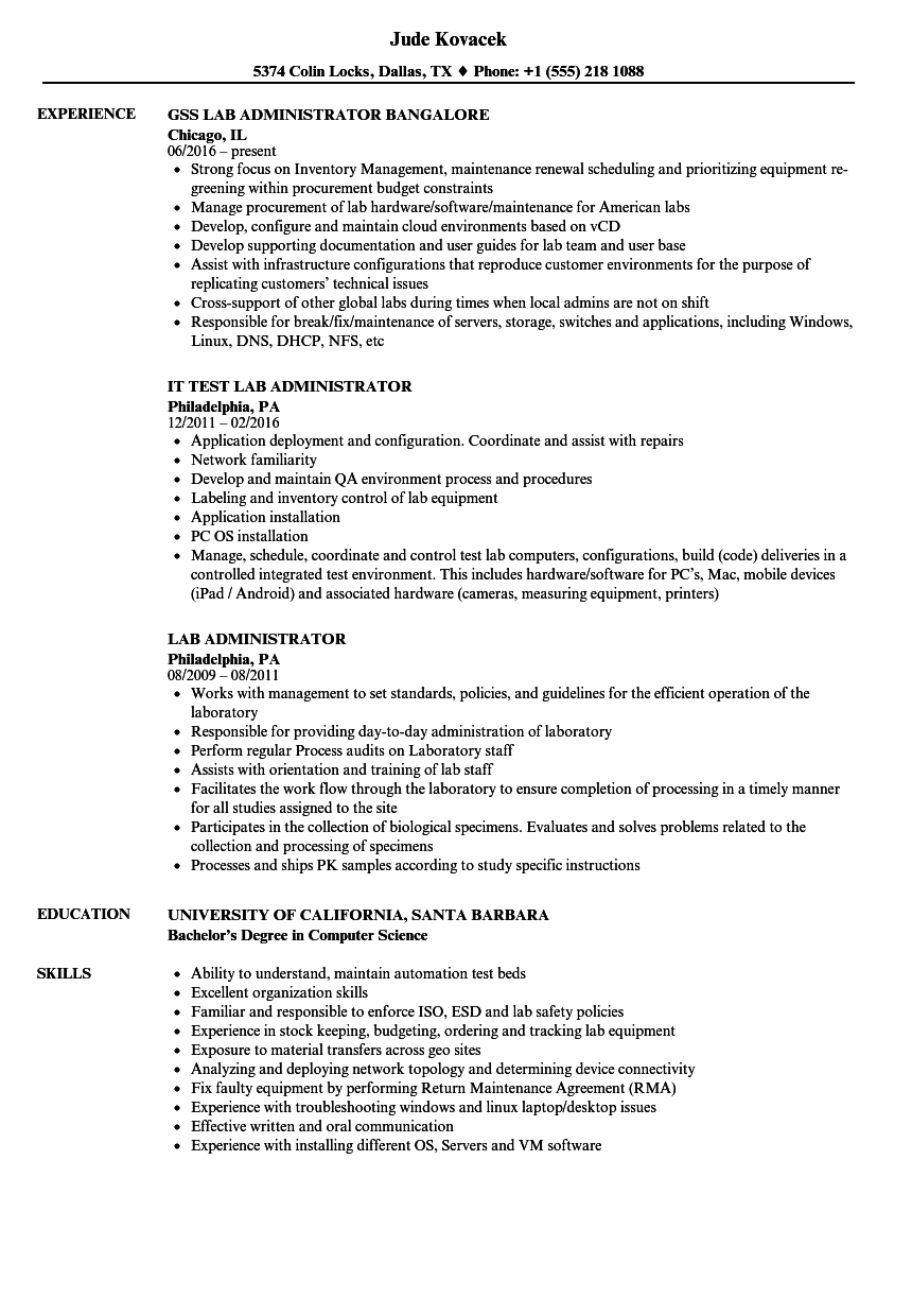 download lab administrator resume sample as image file - Lab Administrator Sample Resume