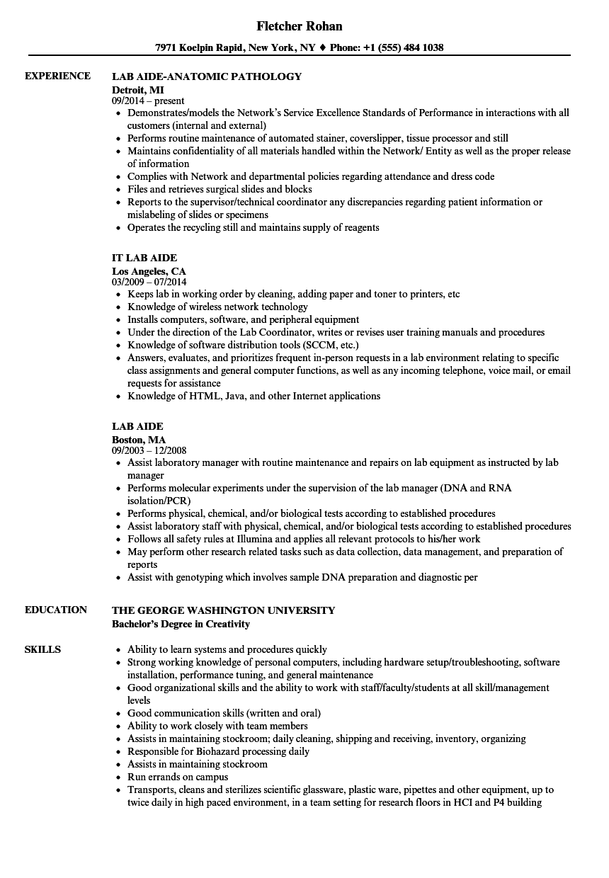 lab aide resume samples