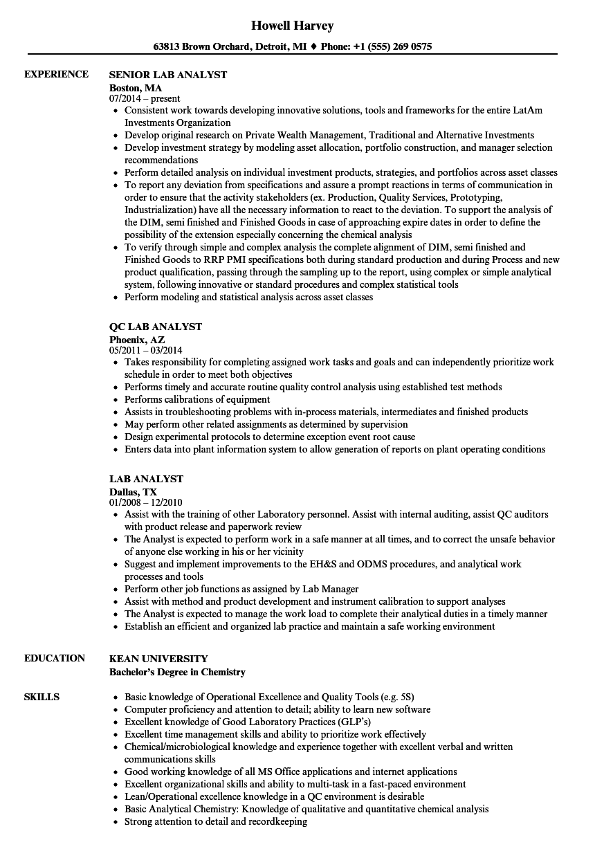 lab analyst resume samples