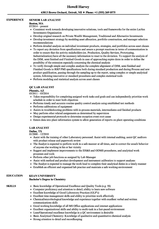 Laboratory analyst sample resume