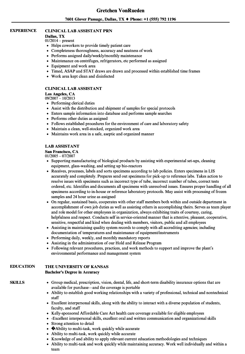 Lab Assistant Resume Samples | Velvet Jobs