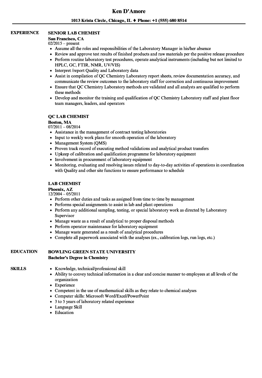 lab chemist resume samples velvet jobs