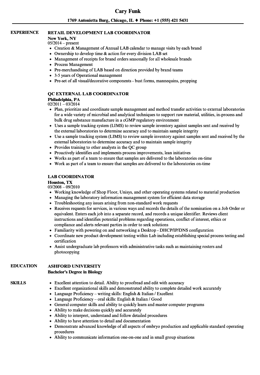 lab coordinator resume samples