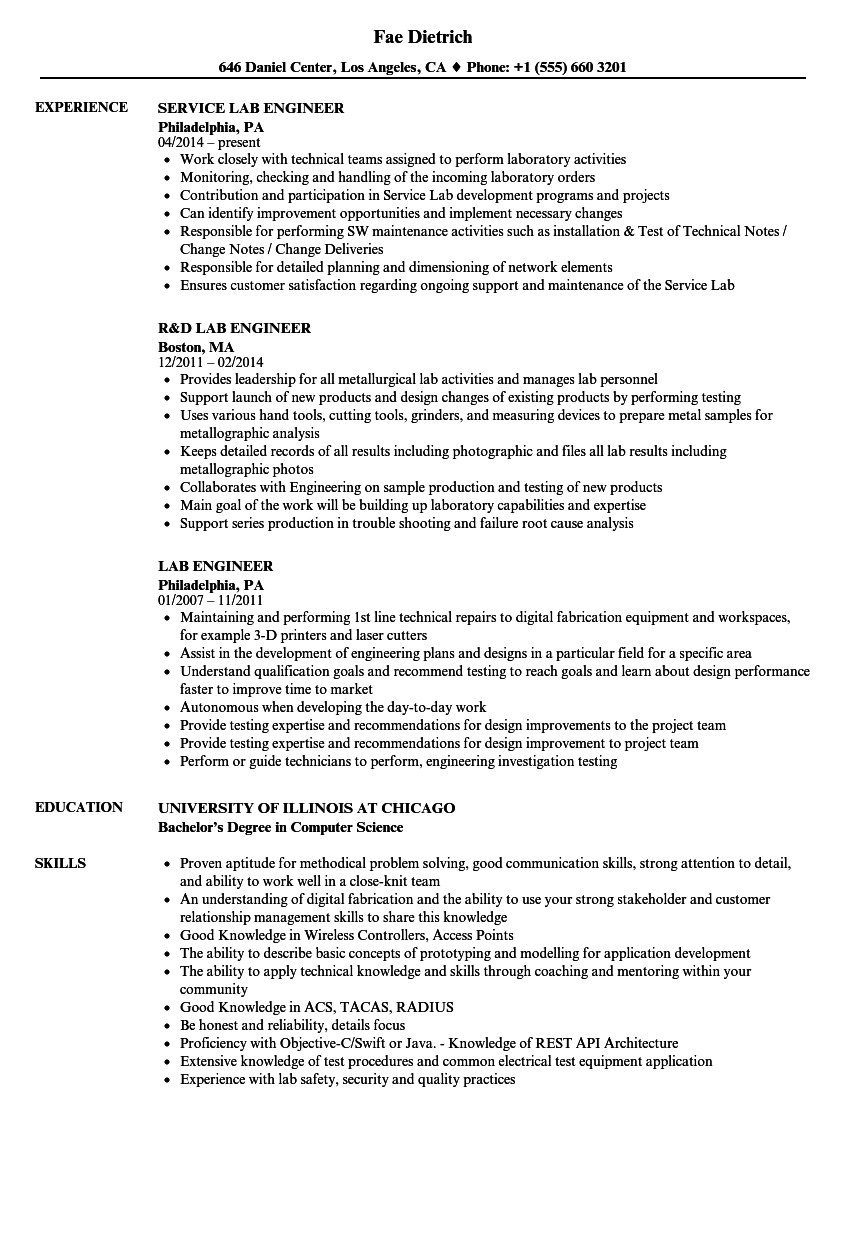 lab engineer resume samples