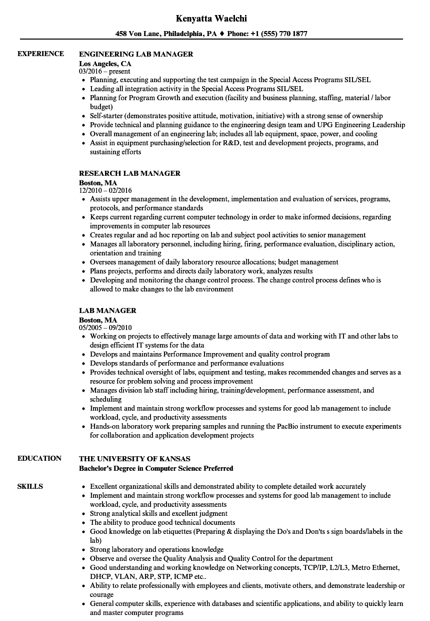 lab manager resume samples velvet jobs