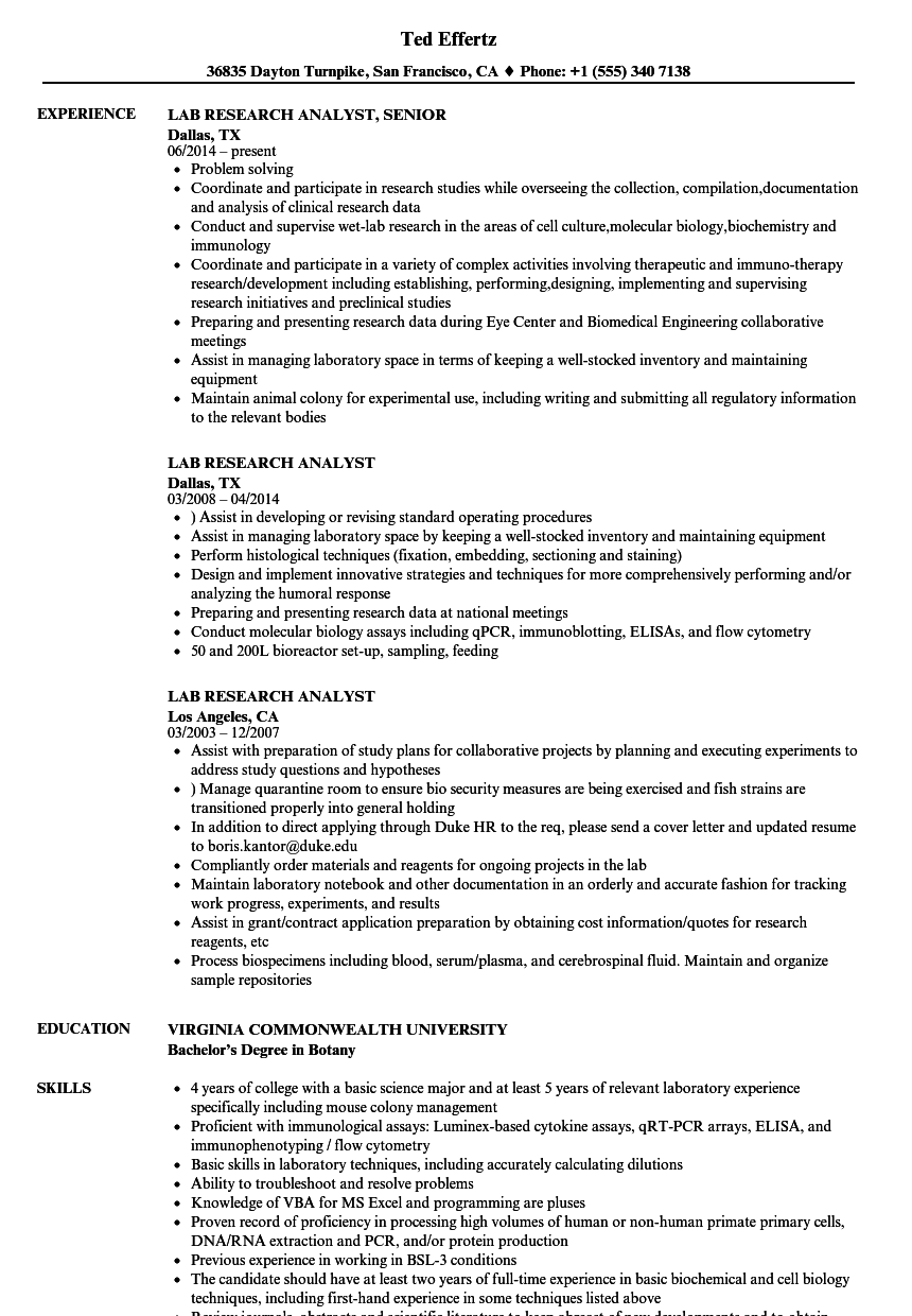 lab research analyst resume samples