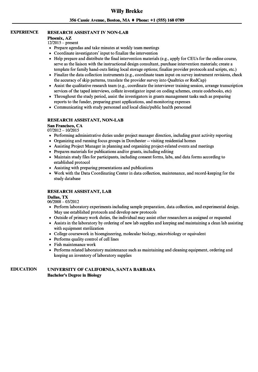 Lab Research Assistant Resume Samples | Velvet Jobs