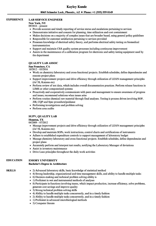 Lab Resume Samples | Velvet Jobs