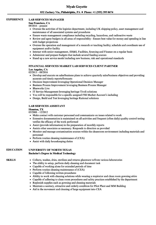 Lab Services Resume Samples | Velvet Jobs