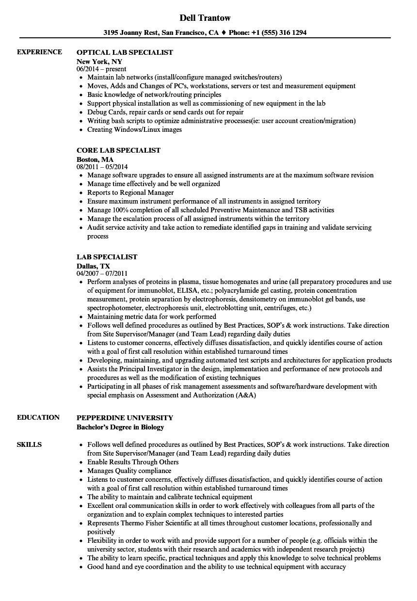 Download Lab Specialist Resume Sample As Image File