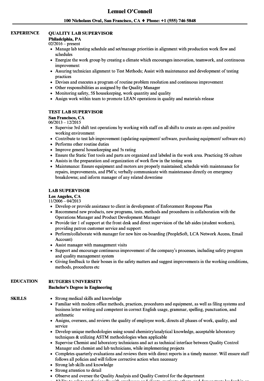 lab supervisor resume