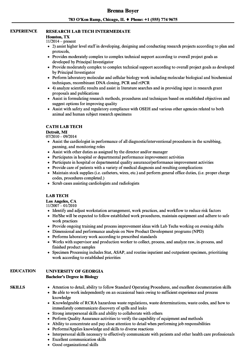 lab tech resume samples velvet jobs