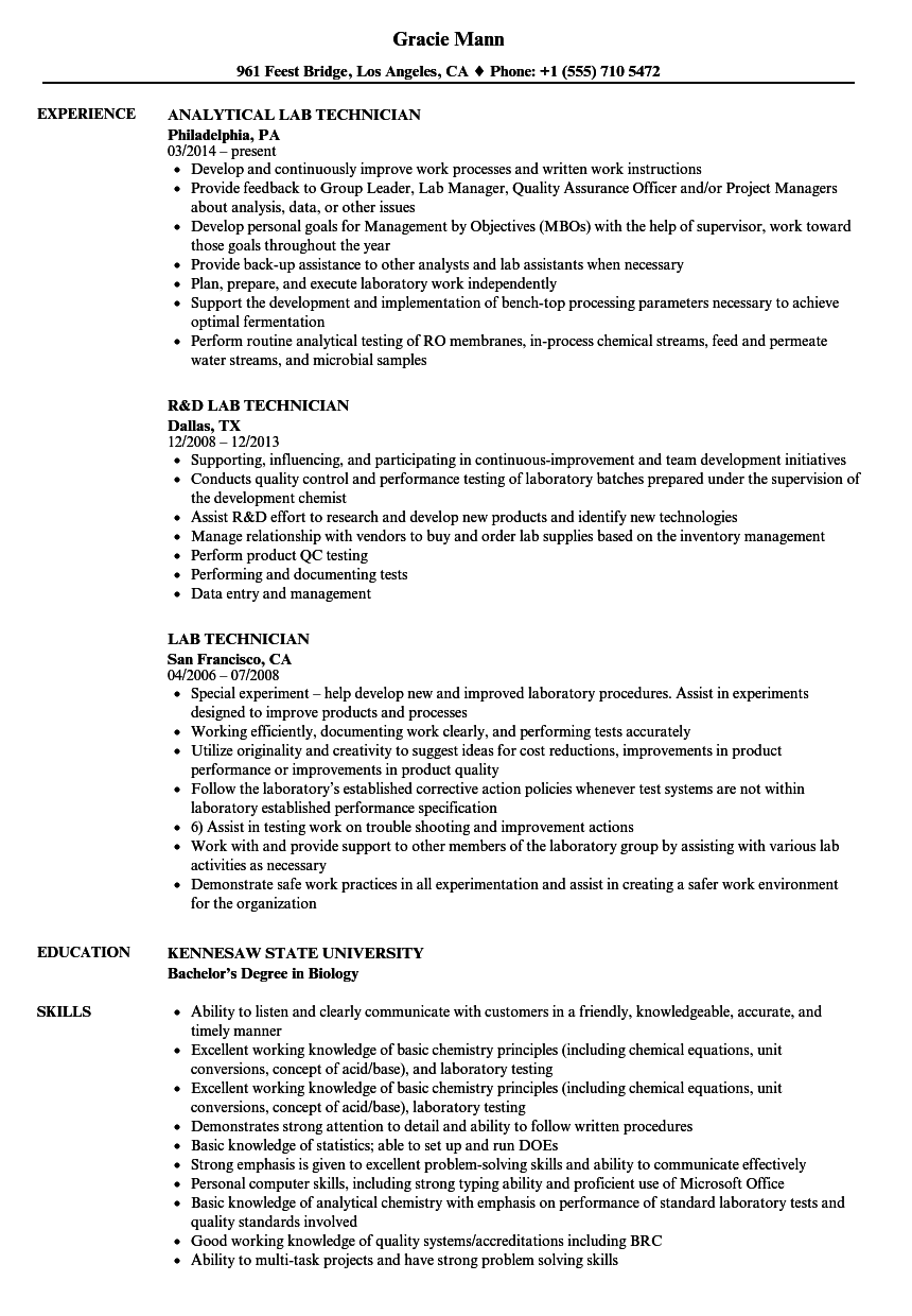 Lab Technician Resume Samples | Velvet Jobs