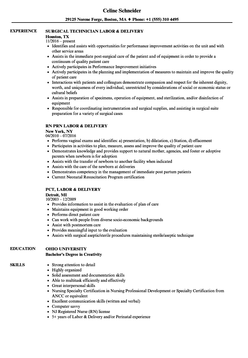 Download Labor Delivery Resume Sample As Image File