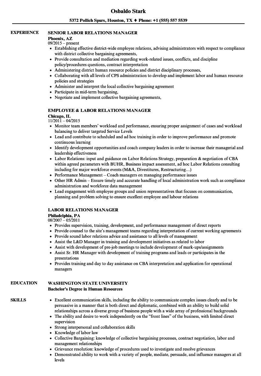 labor relations manager resume samples