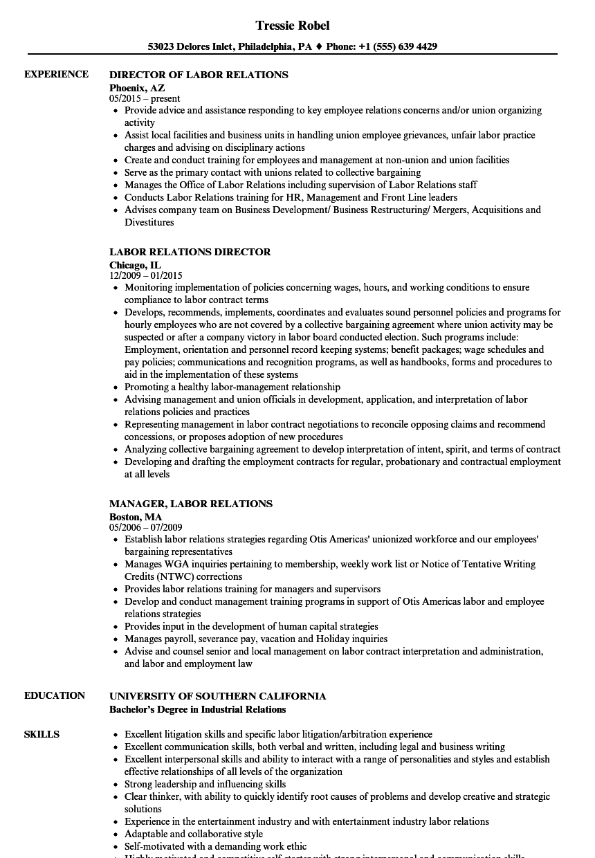 labor relations resume samples