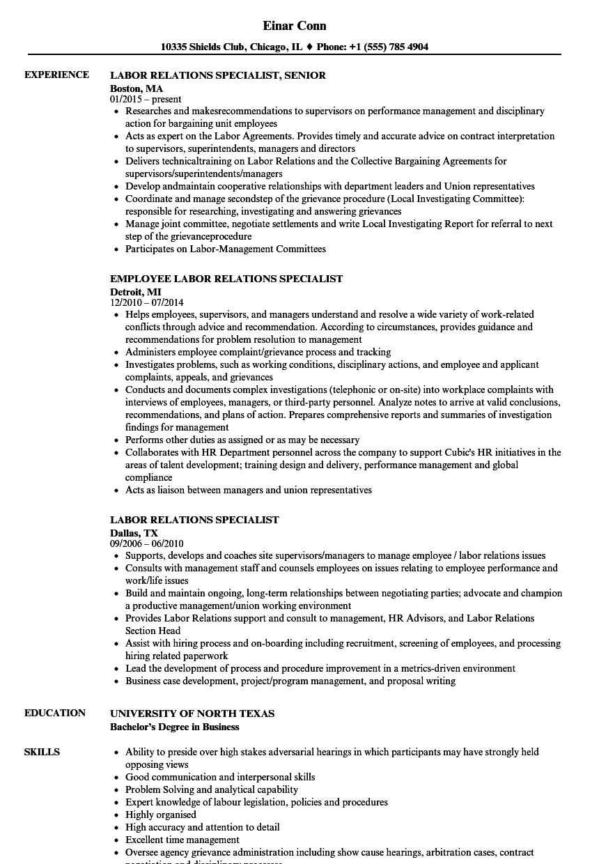 Labor Relations Specialist Resume Samples | Velvet Jobs